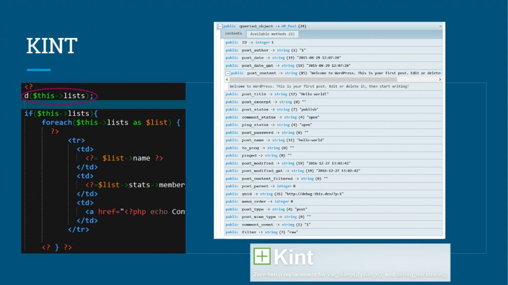 Kint - Screenshot PHP array debug